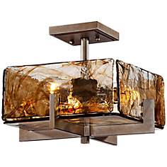 "Square Bronze Gold Art Glass 14"" Wide Ceiling Light Fixture"