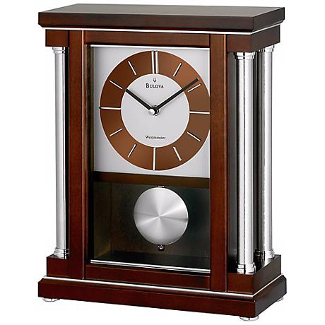 "Thayer 13 1/4"" High Westminster Melody Bulova Mantel Clock"