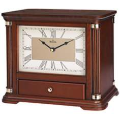 "Norbourne Wiped Walnut 10 3/4"" Wide Bulova Mantel Clock"