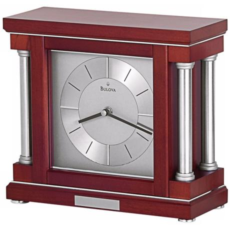 "Ambiance 10 1/4"" Wide Dark Wine Bulova Mantel Clock"