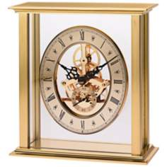 "Castine II 6 3/4"" High Brushed Brass Bulova Mantel Clock"