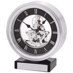 "Omni Brushed Aluminum 6 1/4"" High Bulova Mantel Clock"