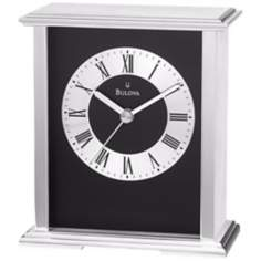 "Baron Brushed Aluminum 6 1/4"" High Bulova Mantel Clock"