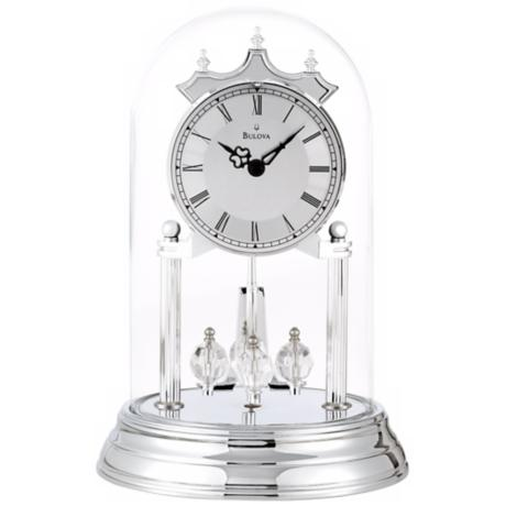"Tristan II Chrome 9"" High Bulova Mantle Clock"