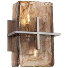 "Bronze Gold Art Glass 8"" Wide Wall Sconce"