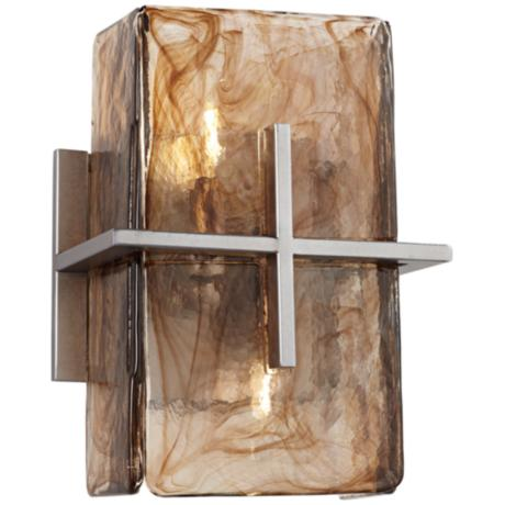 bronze gold art glass 8 wide wall sconce v1965. Black Bedroom Furniture Sets. Home Design Ideas