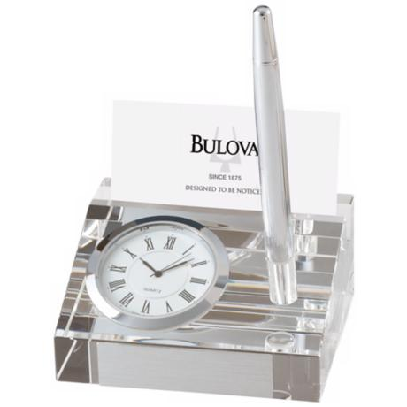 Bulova Dryden Crystal Clock with Card Holder and Pen