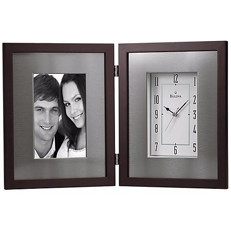"Winfield 15"" Wide Picture Frame Bulova Desk Clock"
