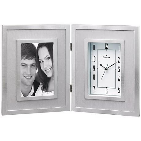 "Carlson 14 1/4"" Wide Picture Frame Bulova Desk Clock"