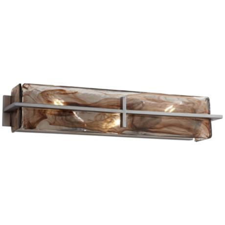 "Bronze Gold Art Glass 23 3/4"" Wide Bathroom Light Fixture"