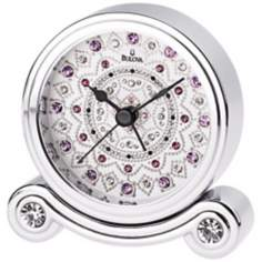"Olympia Crystal Accents 3"" Wide Bulova Alarm Clock"