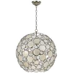 "Crystorama Palla 21"" Wide Antique Silver Pendant Light"