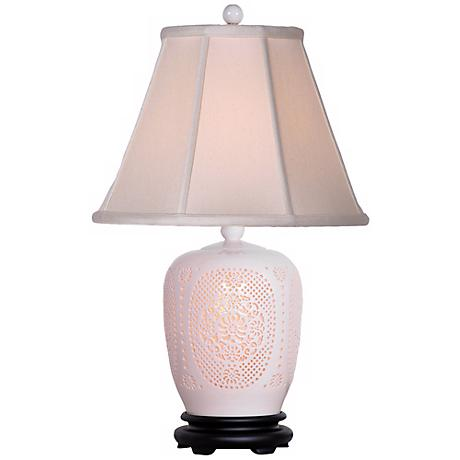 Pierced Bone China Ginger Jar Night Light Table Lamp