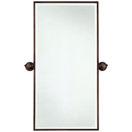 "Minka 36"" High Rectangle Brushed Bronze Bathroom Wall Mirror"