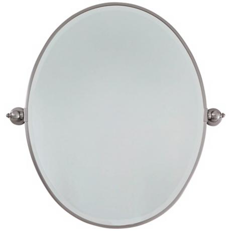 "Brushed Nickel Plated Steel 25"" Wide Oval Wall Mirror"