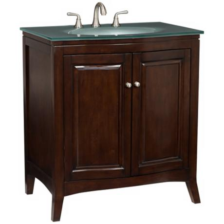 Espresso Wood with Glass Top Bathroom Vanity Sink