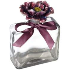 Plum Purple Flower Square Clear Glass Bottle