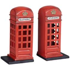 Set of 2 Telephone Booth Bookends