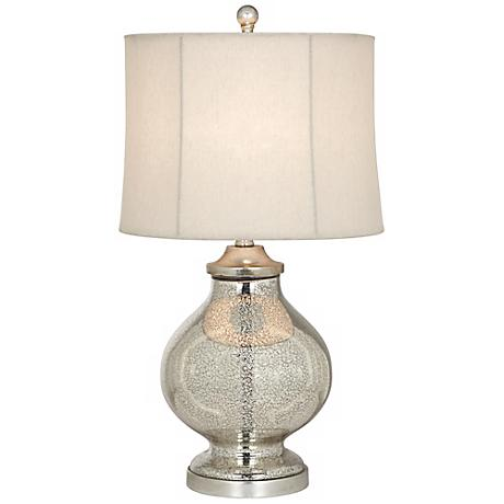 Kathy Ireland Manhattan Modern Tall Silver Glass Table Lamp