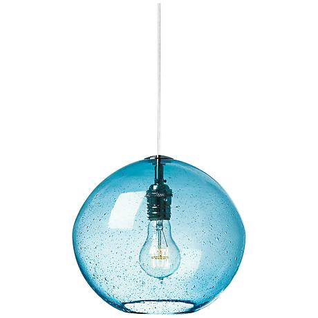 "LBL Isla Aqua Nickel 9 3/4"" Wide Globe Pendant Light"
