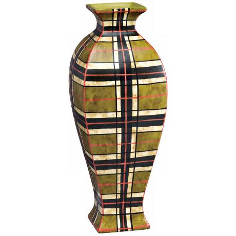 "Kichler Malcolm 18"" High Plaid Decorative Porcelain Vase"