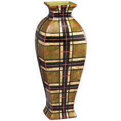 "Kichler Malcolm 16"" High Plaid Decorative Porcelain Vase"