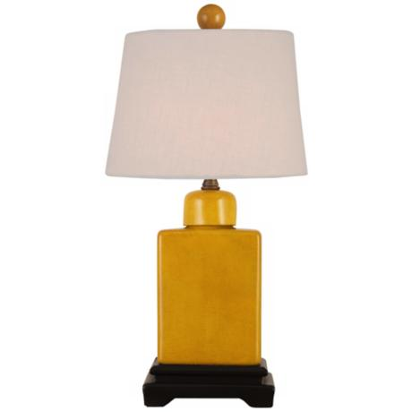 Mustard Yellow with Off-White Shade Porcelain Table Lamp