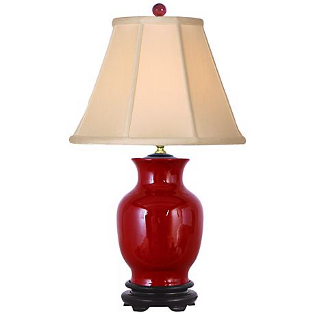 Oxblood Red Sculpted Vase Porcelain Table Lamp