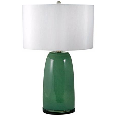 Mouth-Blown Green Glass Table Lamp