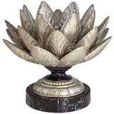 Silver Leaf Lotus Flower Candle Holder