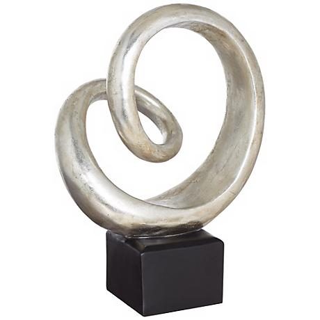 "Silver Slanted Spiral 16"" High Sculpture"