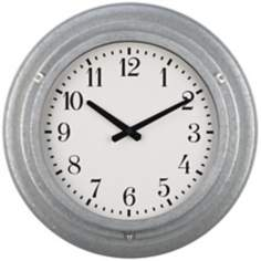 "Galvanized Metal 18"" Wide Wall Clock"