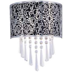 "Maxim Rapture Black 9 3/4"" Wide Satin Nickel Wall Sconce"