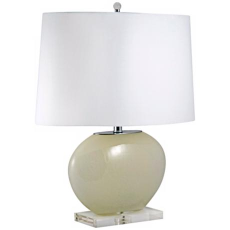 Cream Oval Glass Table Lamp