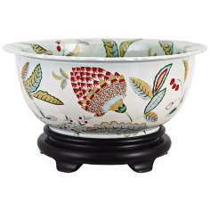 Leaves and Seeds Scalloped Edged Painted Porcelain Basin