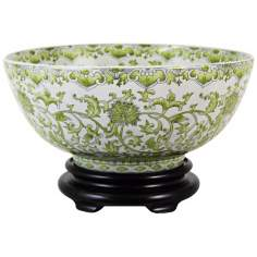 Green & White Porcelain Bowl with Base