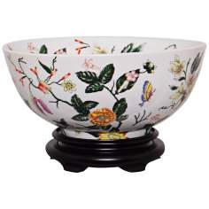 Floral Painted Porcelain Bowl with Base