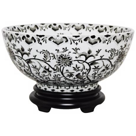 Black Floral Porcelain Bowl with Base