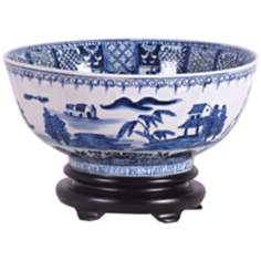 Blue and White Canton Porcelain Bowl with Base