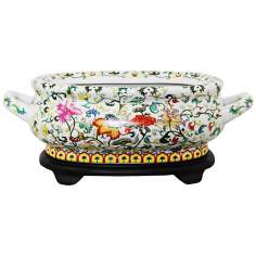 Multi-Floral Porcelain Footbath with Base
