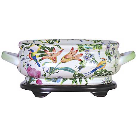 Floral Porcelain Footbath with Base