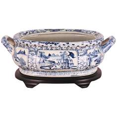 Blue and White Landscape Porcelain Footbath with Base