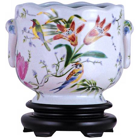 Tropical Birds Hand-Painted Porcelain Cachepot