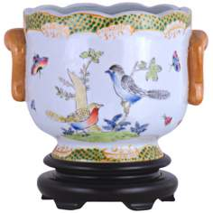 Birds and Butterflies Hand-Painted Porcelain Cachepot