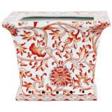 Orange Floral Square Porcelain Cache Pot