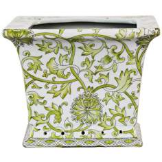 Lemon Floral Square Porcelain Cache Pot