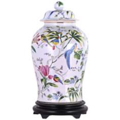 Floral Painted Porcelain Temple Jar with Base