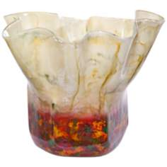 "Salsa Small 17"" Wide Decorative Art Glass Urn"