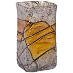 Lemon Twist Small Square Decorative Art Glass Vase