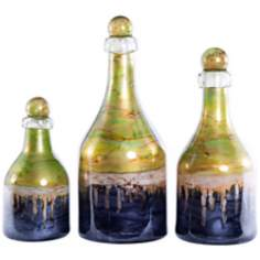 Set of 3 Jade Decorative Glass Bottles with Tops